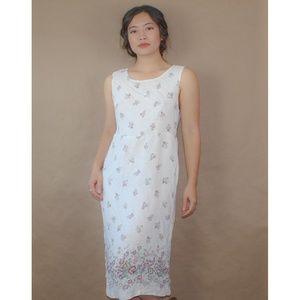 (66) vtg 90s boho prairie white floral dress
